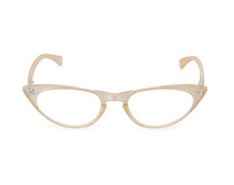 1950s 60s style Pearl CAT EYE Rxable frame or reading glasses clear to +3.00 NEW to original vintage design best seller 'Peggy''