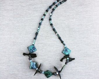 ladon necklace // gift for her // green necklace // summer necklace // hematit //serpentine