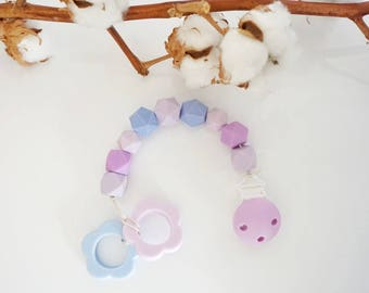 Teether Chain with Double Teether - Pacifier Chain with Silicone Clips - Beißkette mit Silikonbeißring