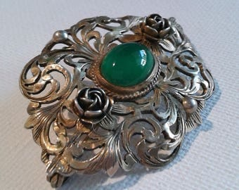 Large silver brooch with green cabochon, silver pin with green stone, large brooch with green stone, large ornate brooch
