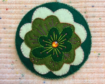 Upcycled CD Green Variation Beaded Ornament Floral Motif