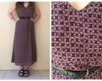 90s Boho Grunge Tile-Print Maxi Dress / floral / boho maxi dress / 90s maxi dress / medium / large