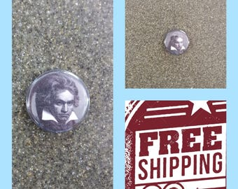 "1"" Beethoven Portrait Button Pin or Magnet, FREE SHIPPING & Coupon Codes"