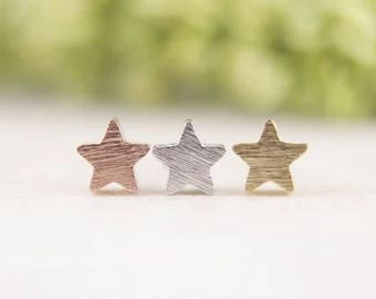 24/7 Jewelry Collection Ooorbellen-Wish Star Stud Earrings-brushed-Minimalist-Silver-Gold-rose gold