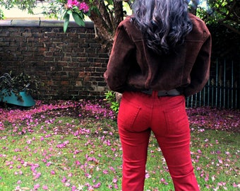 Vintage Red Flare Jeans with Edgy Buckle Belt