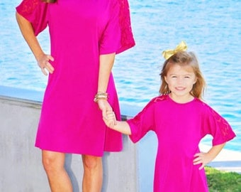 Mommy and Me Pink Kendall Tunic Lace Dress