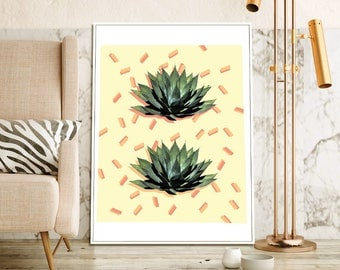 Agave Succulent Abstract Geometric Downloadable Printable Wall Art | 4x6, 8x10, 11x14