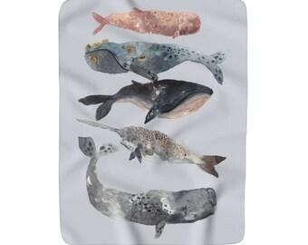 Watercolour Whales Sherpa Fleece Throw Blanket