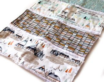 Tepee Burp Cloths / Cotton Burp Cloth / Diaper Burp Cloth / Gray Burp Cloth / Baby Shower Gift / Free Shipping US / Adventure Burp Cloth