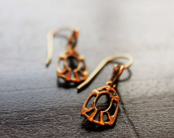 """Matte gold """"art-deco"""" styled drop earrings"""