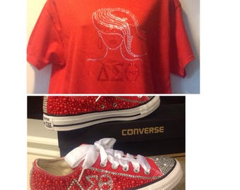 Rhinestone and pearl delta bling converse plus T-Shirt