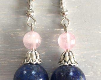 Rose Quartz and Lapis Lazuli stone earrings