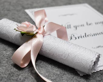 Will You Be My Bridesmaid | Asking Bridesmaids Proposal Card Gift Scroll Invitation Invite Ask | Be My Maid of Honour Flower Girl | Pink