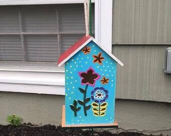 Bird House Custom Hand Painted Flower Style