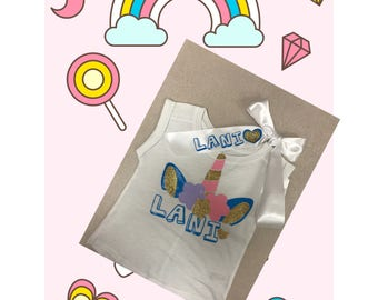 Unicorn personalized shirt with hair ribbon