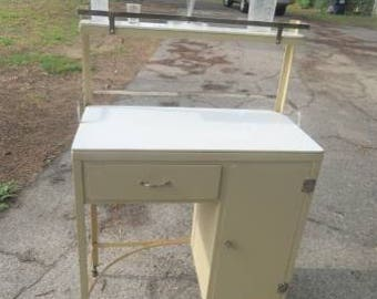 Antique Vintage Medical / Dental Apothecary Industrial Metal Desk or Storage Cabinet with Marble - by The Max Wocher & Son Co.