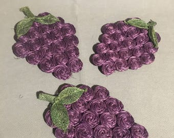 "Vintage Set of 3 Purple Grape Ratten / Straw Braided Drink Coaster 6"" long"