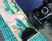 Camera Strap Cover with Lens Pocket Ready to Ship Canon Nikon DSLR Photographer Photography #122 Cactus Cacti Pink Teal Blue Green