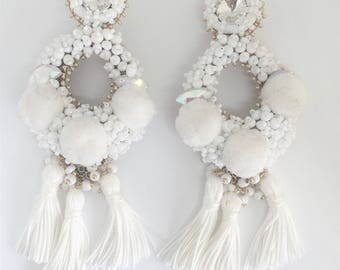 Alegra in White Silk Tassle earrings