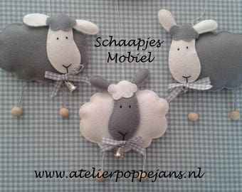 Sheep mobile grey/white by felt-Handicraft package
