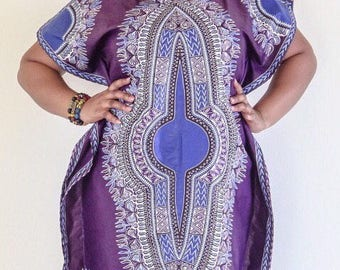 DeBokis Collection.  Purple Dashiki African Wax Print Dress with headgear. Comes in PLUS SIZES as well!