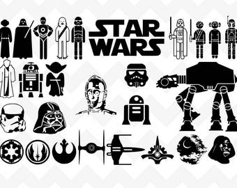 Star Wars SVG | Star Wars SVG Bundle | Disney svg | Princess Leia svg | r2d2 c3po svg | Silhouette Cricut | yoda svg cut file |