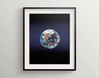 Earth, earth print, planet earth, space print, earth photography, cosmos art, earth satellite, planet, earth from space, world, astronomy