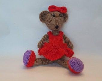 Amigurumi Teddy Bear Girl Stuffed Soft Toy Crochet Bear Handmade
