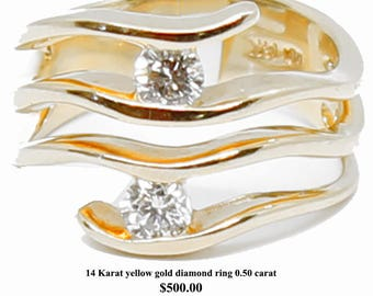 14 Karat yellow gold diamond ring 0.50 carat