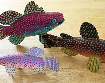 3 Colorful Fanciful Fish Carvings-Fanciful Fish Decoys-Hand crafted, Hand painted--Each is One of a Kind