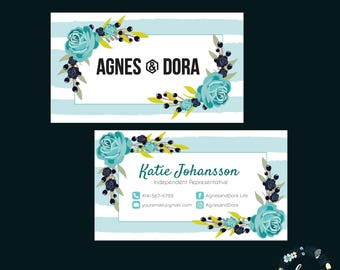 Custom Business Cards Agnes & Dora, Agnes and Dora Consultant Business Card, Green Floral Flower, Custom Business Card, PRINTABLE 042