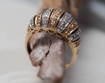 Diamond Cocktail Ring about 1960 - Bombé Ring
