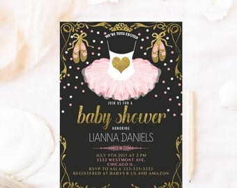 Ballerina baby shower invitation, tutu baby shower invitation, we're tutu excited, baby shower invite, its a girl, ballet baby shower