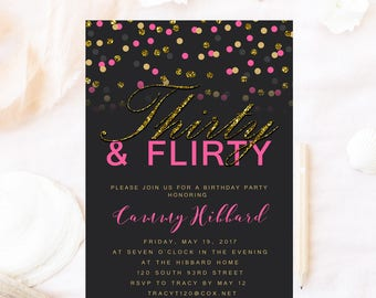 Thirty and flirty birthday invitation, Glitter birthday invitation, thirtieth birthday 30th birthday ,glitter gold pink birthday invitation