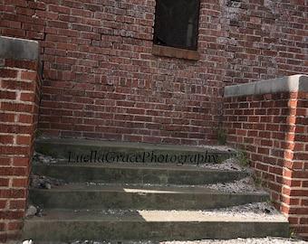 Brick building, steps