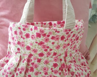 Pretty fabric rosebud, floral trim print bag, handbag, shopping bag