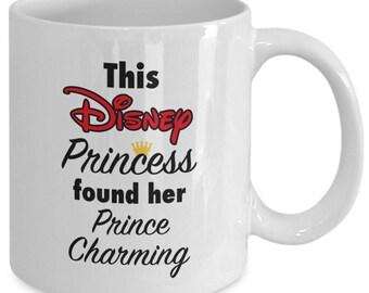 This DISNEY PRINCESS Found Her PRINCE Charming Mug - Disney Engagement Wedding Announcement Bridal Shower Gift - 11 oz white coffee tea cup