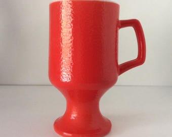 Red Milkglass Pedestal Coffee Mug | Federal Glass Co. | USA | Vintage
