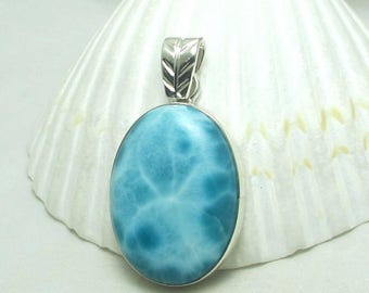 Natural Larimar exceptional quality Sterling Silver Pendant