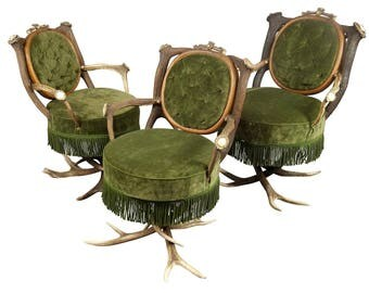 three antique austrian antler parlor chairs ca. 1890