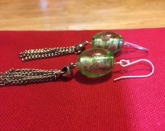 Green earrings with drop chain