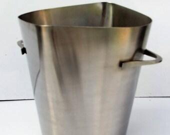 Stainless steel, circa 1970s design ice bucket.