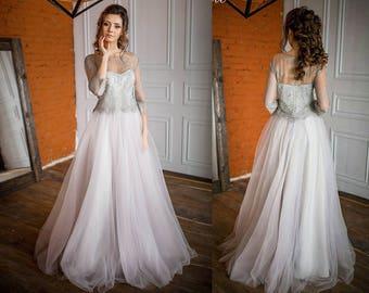 Wedding dress, lace dress, tulle skirt, lush skirt, 3 in 1 dress