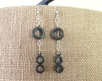 Hematite rounds and gray faceted glass bead earrings