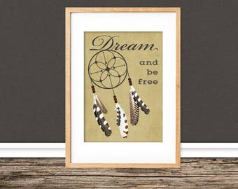 A4 print / / dream catcher feathers / / poem cottage
