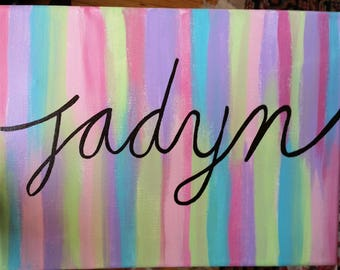 Colorful Personalized Cursive Name Canvas