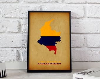 Colombia poster Colombia art Colombia Map poster Colombia print wall art Colombia wall decor Gift poster