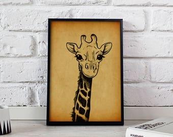 Giraffe Animal Vintage poster, Giraffe Animal wall art, Giraffe Animal wall decor, Giraffe Animal print