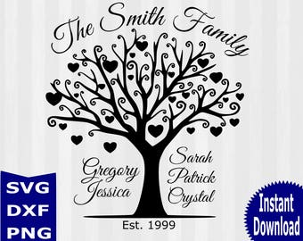 Family Tree SVG, Family Tree clipart, wedding svg, anniversary svg, svg files for silhouette, files for cricut, svg, dxf, cuttable design