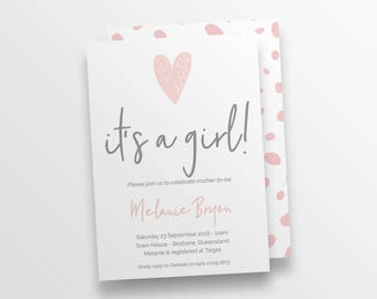 Baby Girl Shower Invitation | Printable Baby Shower Invite Template | templett instant download | It's a girl | It's a girl | Hearts 116987